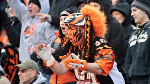 Doesn't hurt if he paints his face with Bengal stripes to match. Even though he might stand out from a crowd.
