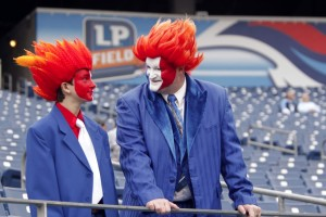 Oh, wait they're Tennessee Titan fans. And they really seem to be dressed their best for the game. Probably it might be since they're rich enough for front row seating.