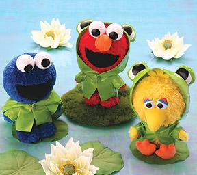 "From Tough Pigs: ""This is from the time Cookie, Elmo, and Big Bird tried to crash Kermit's family reunion, I guess. But where are Cookie's froggy eyes? And more importantly, would they be googly too?"""