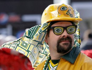 And there seems to be no shortage of Green Bay Packers fans in outlandish costumes. This one included but his outfit is mild compared to some.