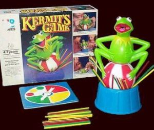 "From Tough Frogs: ""There's something about Kermit's posture and expression that make me uncomfortable."" Another: ""As if this weren't disturbing enough: Does the picture show that thing VIBRATING?"" Also looks like a stupid game."