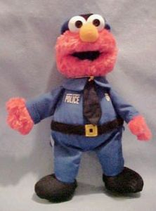 "From Tough Pigs: ""Can you imagine being arrested by Elmo? Seriously. Just try to picture it."" No, that doesn't seem right. Also, he might've failed his fitness test. Must cut the donuts."