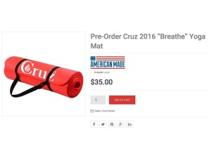 Didn't know that Ted Cruz's campaign even sold yoga mats. Because Cruz doesn't strike me as a yoga kind of guy.