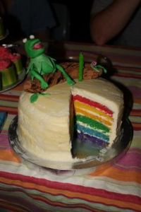 Of course, the rainbow in this cake is in the inside. Because that's the side that really counts.