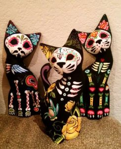 Yes, these are cat statues painted like skeletons. They also have other animals if you're interested.