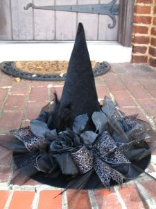 This one has feathers, ribbons, and flowers on it. Great for any witch on the town.