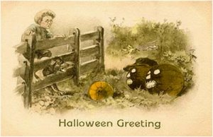 "From I-Mockery: ""It's like those two zombie pumpkins are just daring the little boy and his dog to hop the fence and grab that healthy pumpkin. That's just downright horrifying."""