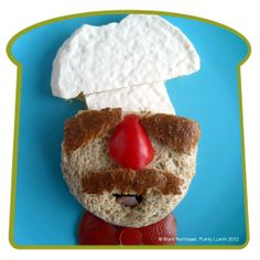 Has a bread face with bread crust beard and eyebrows. But his hat is made from tortilla. Enjoy.