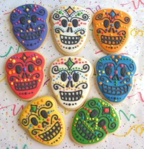 A lot of these treats featured in this post will have decorated skulls on them. These are in multiple colors.