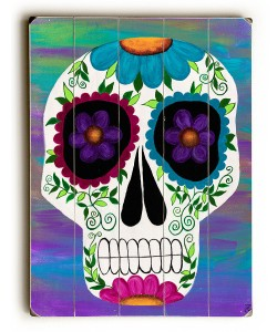 Well, it's on a square panel with a skull painted on it. But I do love the purple flower eyes.