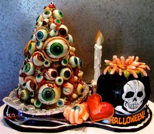 Yes, it's a cake full of eyeballs. I know it's disgusting. But at least the eyeballs come in all different sizes and colors.