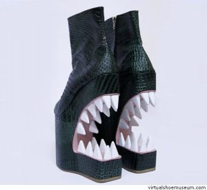 And they're not kidding here. Not sure if they're shoes I'd want to sink my teeth into. Because they don't seem like I can walk in them.