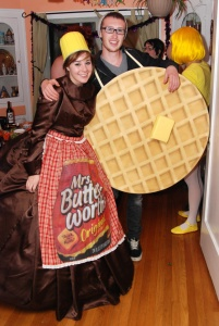 Mrs. Butterworth is a syrup brand. But I like how she's dressed like the bottle.