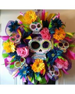 Sure it might just be a normal flower wreath without the decorated skulls. But it's nevertheless stunning.