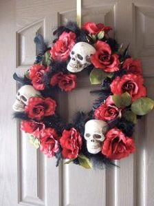 Well, this is pretty morbid mostly because of the skulls. And the black stuff. Love the flowers.