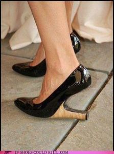 Because those heels have to be on the back for support. Not near the sole which doesn't accomplish much.