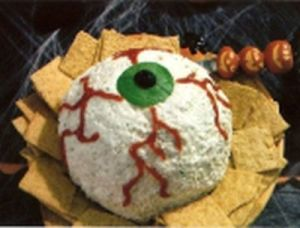 Yes, it's a big eye ball you can dip crackers in. I know it's disgusting. But on Halloween, disgusting is in fashion.