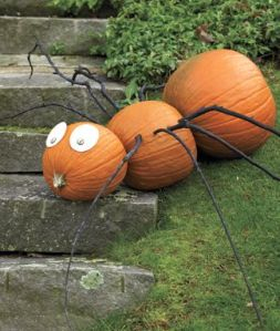 This consists of 3 pumpkins and 8 twigs for each leg. Oh, and eyes. Makes a great lawn decoration.
