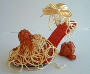 Even comes covered in spaghetti and meatballs. Hope it doesn't make a mess.