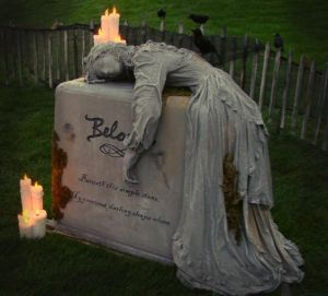Well, this is a tombstone decoration with candles. But still, this isn't healthy relationship behavior.