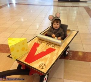 Now this is a very adorable costume with the baby dressed as a mouse. Until you realize what mousetraps actually do to mice.