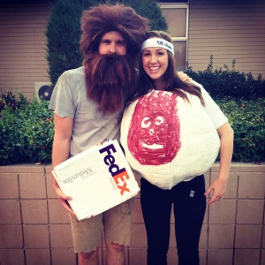 The guy's the Tom Hanks character with a FedEx box. The woman is the volleyball Wilson.