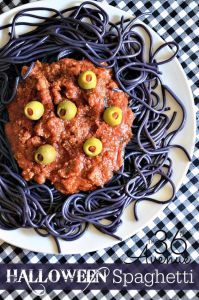 Helps the pasta is purple to resemble worms and it's sprinkled with eyeballs. Makes you think you're eating something disgusting.