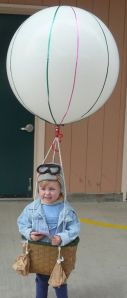 No, this isn't Balloon Boy. This is just a kid dressed as a hot air balloon. And it's adorable.