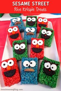 Includes Cookie Monster, Oscar, and Elmo. Each has a cookie mouth. Though Elmo and Oscar have Oreo for black.