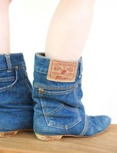 They even come with pockets. Probably made from an old pair of jeans, no doubt.