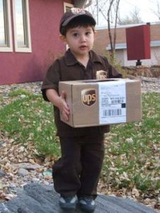 He'll probably go trick or treating or deliver the package while you're at work. Nevertheless, so cute.