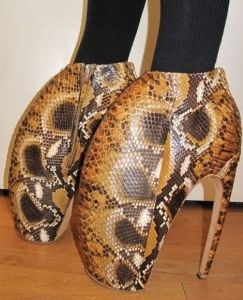 Well, the snake skin is one thing. But the shape of these shoes is another. At any rate, they're weird looking.