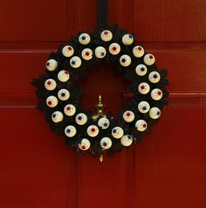 To be fair, I put up an eyeball wreath last year. But this one is a different design and has bloodshot ones on as well.