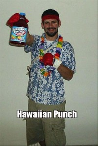 Well, it's a guy in a Hawaiian shirt, lei, and boxing gloves. Who could ever guess?