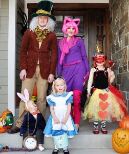 Another family costume theme. There's the Mad Hatter, the Cheshire Cat, the Queen of Hearts, Alice, and the White Rabbit.