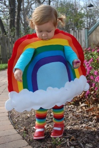 Like how she has rainbow socks. There's nothing you can't love about this adorable costume.
