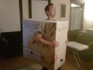 The cheap wine in a box we all know and love. Wonder how he could get a box like that.