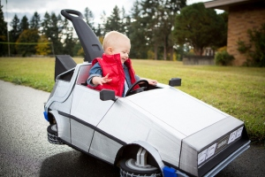 He even has his own Delorean. Like his cute little red jacket vest. Adorable.