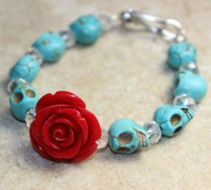 This one goes with the turquoise skull and rose earrings. So I had to include it.