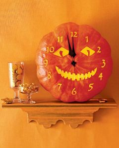 Just remember to make this from a craft pumpkin. And only use the bottom. Still, the smile is eerie.