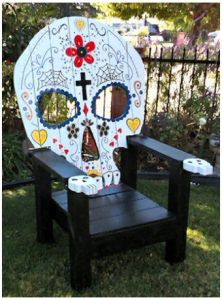 Yes, this skull lounge chair is more decorated than it's Halloween counterpart. But it still has the skull eyes and nose.