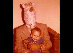 Then again, the unicorn seems to view this baby with a hungry eye. Like he's thinking of having him for dinner.