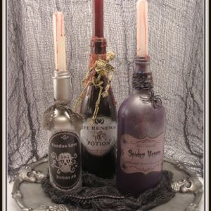 I guess potion bottles aren't that hard to do. After you paint them, just stick a candle in and you're done.
