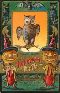"From I-Mockery: ""If 'good luck' equates to meeting twin pumpkinhead pieces of red corn on the cob witches, I think I'll take my chances with seeing the old owl instead."