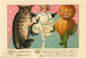 "From I-Mockery: ""Okay, two things here: 1) I just learned that ""jollity"" is a word. and 2) That pumpkin is totally going to murder that girl and make the owl watch the entire gruesome act."