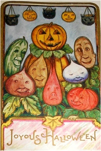 "From I-Mockery: ""When making a card that reads ""Joyous Hallowe'en"" you might want to have your quality control department double check it to make sure everyone in the picture looks joyous."" I think they all want to murder the gardener in his sleep."
