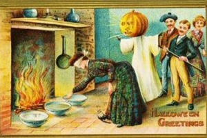 And it seems the pumpkin head guy is looking at the woman's ass as she bobs for apples near the fireplace. What a perv.