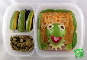 Includes Kermit's face on an apple as well as some pasta for the background. Not to mention, cheese.