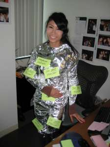 She's covered in foil and sticky notes. And she doesn't want to be touched.