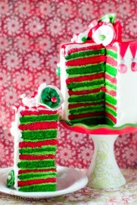 This one has layers upon layers of red and green. But if anything says Christmas cake, it's this.